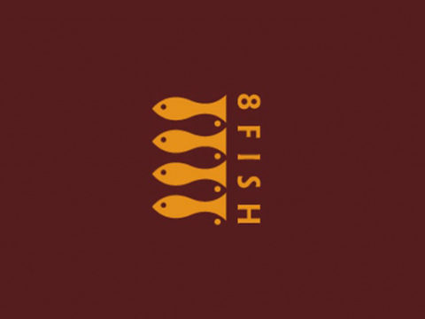 Negative Space Logo - 8 Fish