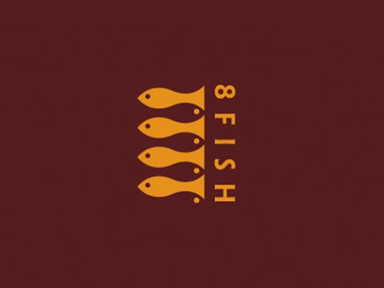 Negative Space Logo - 8 Fish