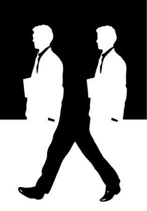 Negative Space Logo - Walking Men