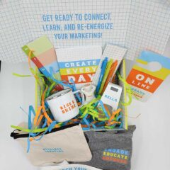 Promotional products inside the E3 campaign box (Engage, Educate, Empower)