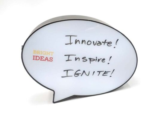 A light-up, dry-erase promotional product in the shape of a comment bubble with the words Bright Ideas imprinted on it.