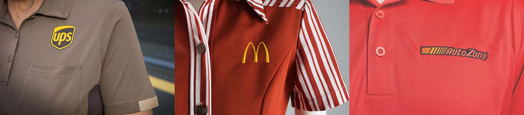 Closeup of three well-known brands with their logos embroidered their uniform shirts: UPS, McDonald's and AutoZone.